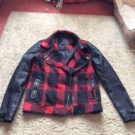 Ladies tartan and leather look biker jacket size 10