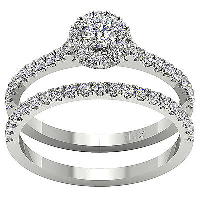 Halo Engagement Bridal Ring I1 H 1.01Ct Real Diamond 14Kt White Gold Appraisal