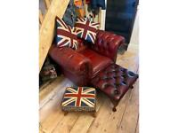 Chesterfield club chair stool and cushions