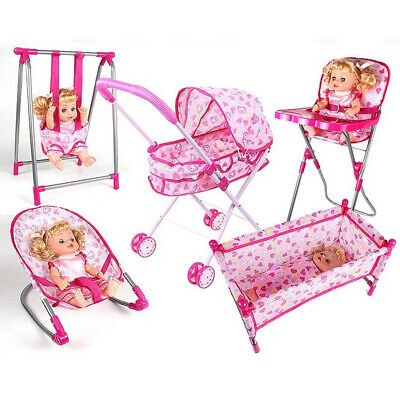 Kids Nursery Room Furniture Decor Doll Pink High Chair Bed Baby Fun Playset