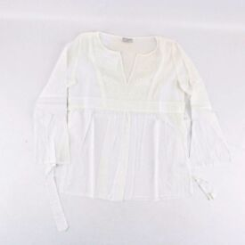 The White Company London Embroidered Blouse White 100% Cotton Small S/10 RRP £45