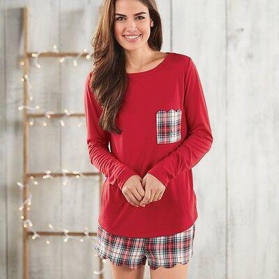 Mud Pie MF6 Women's Fashion Devon Pajama Set Red Plaid 8523044RD ()