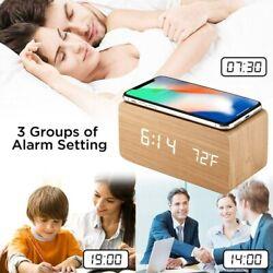 Wooden Led Digital Clock Sound Control For Living Room Bedside Table For Samsung