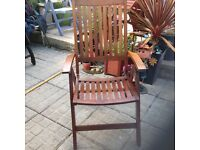 John Lewis hardwood garden chair, 3 position reclining action