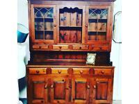 Fabulous solid dark pine Welsh dresser storage cupboard