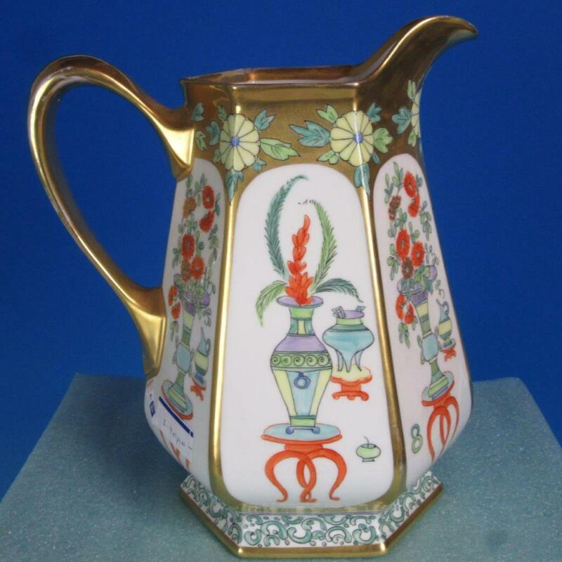 Pickard China - Artist Signed E Tolphin - Tall Water Pitcher - 9½ inches