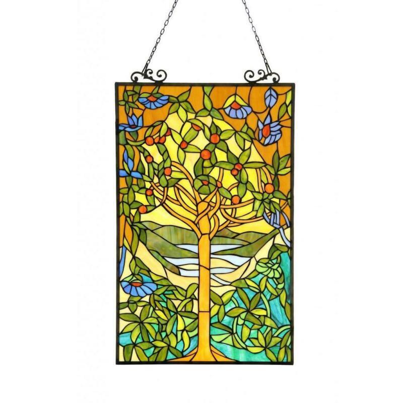Tiffany Style Stained Glass Suncatcher Window Panel Tree of Life Design