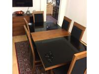 Wooden And Glass dining table and Shumway chairs And Side Board