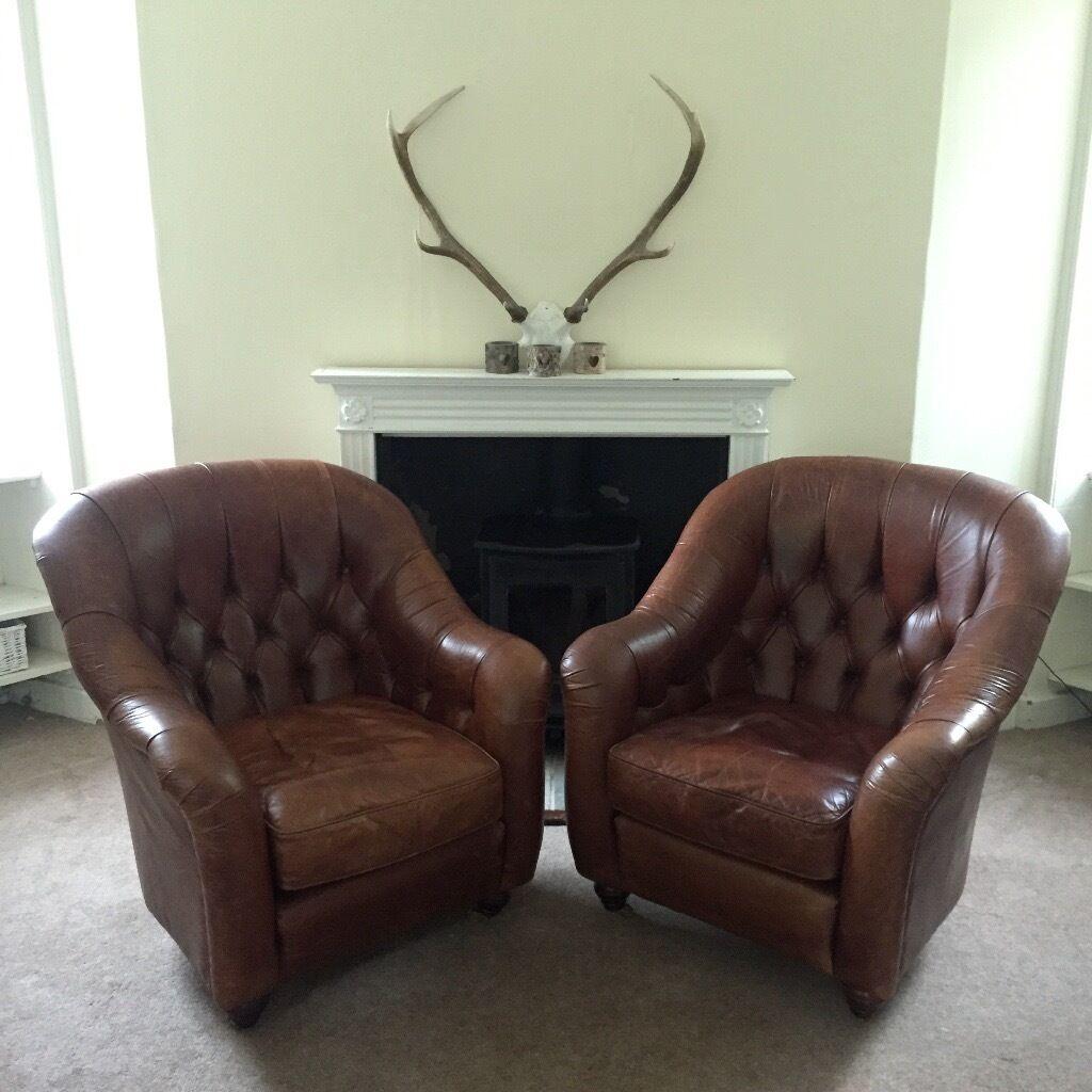 2 Laura Ashley Leather Armchairs Arm Tub Chairs Chair Sofa