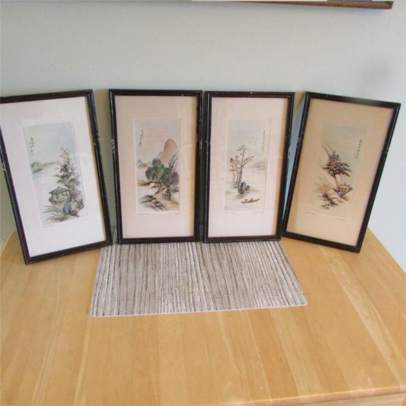 Ling-Fu Yang Rare Four Seasons Lithograph Prints, Chinese Vintage Art, Set of 4