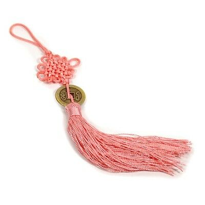 FENG SHUI FORTUNE COIN TASSEL PINK Hanging Cure NEW Love Romance Happiness Luck