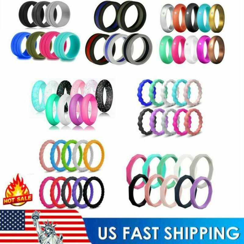 Us 5/7/10pcs/set Flexible Silicone Ring Men Women Rubber Wedding Band Size 5-10