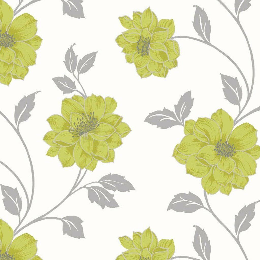 2 Rolls Of Homebase Feature Wall Camilla Green Wallpaper In