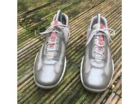 Prada patent grey silver trainers size 4.5
