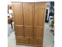 Solid wood Wardrobe 3 door 4 drawers
