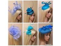 01055b19a6f72 Teal kingfisher cornflower blue fascinator hatinator