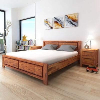 Massivholz Bett (vidaXL Bettgestell Doppelbett Bettrahmen Akazie Massiv Braun 180/140 x 200 cm)