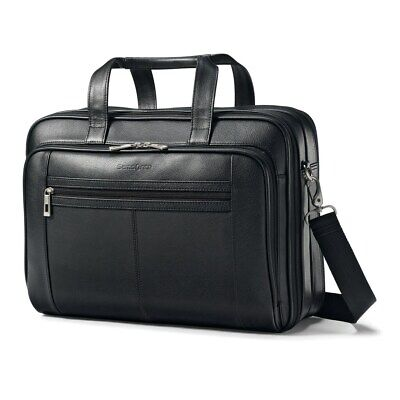 Samsonite Black Leather Business Laptop Computer Case Carrying Bag 43122-1041