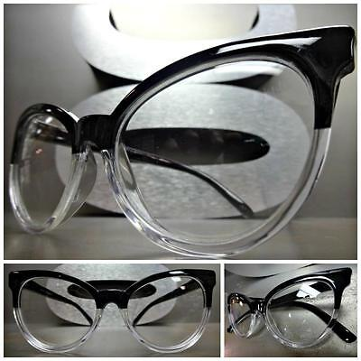 CLASSIC VINTAGE CAT EYE Style Clear Lens EYE GLASSES Black & Transparent Frame