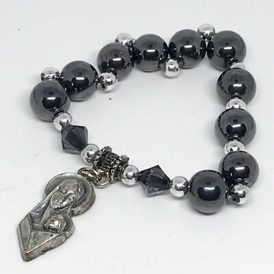 Vintage Hematite Bracelet Madonna and Child Pendant Medal made in Italy