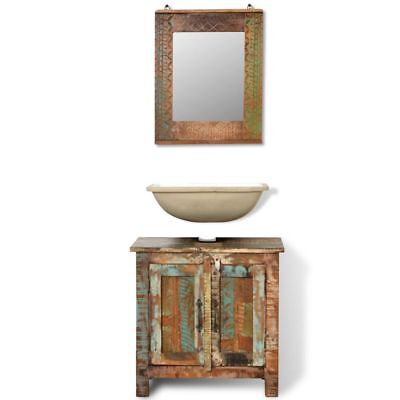 Reclaimed Solid Wood Bathroom Vanity Cabinet Set Storage Furniture with Mirror