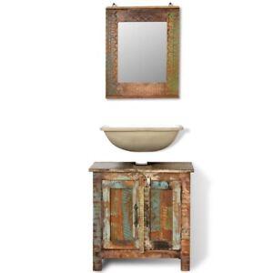 Reclaimed Solid Wood Bathroom Vanity Cabinet Set Storage Furniture With  Mirror