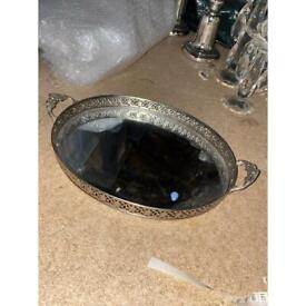 John Lewis silver metal mirrored tray