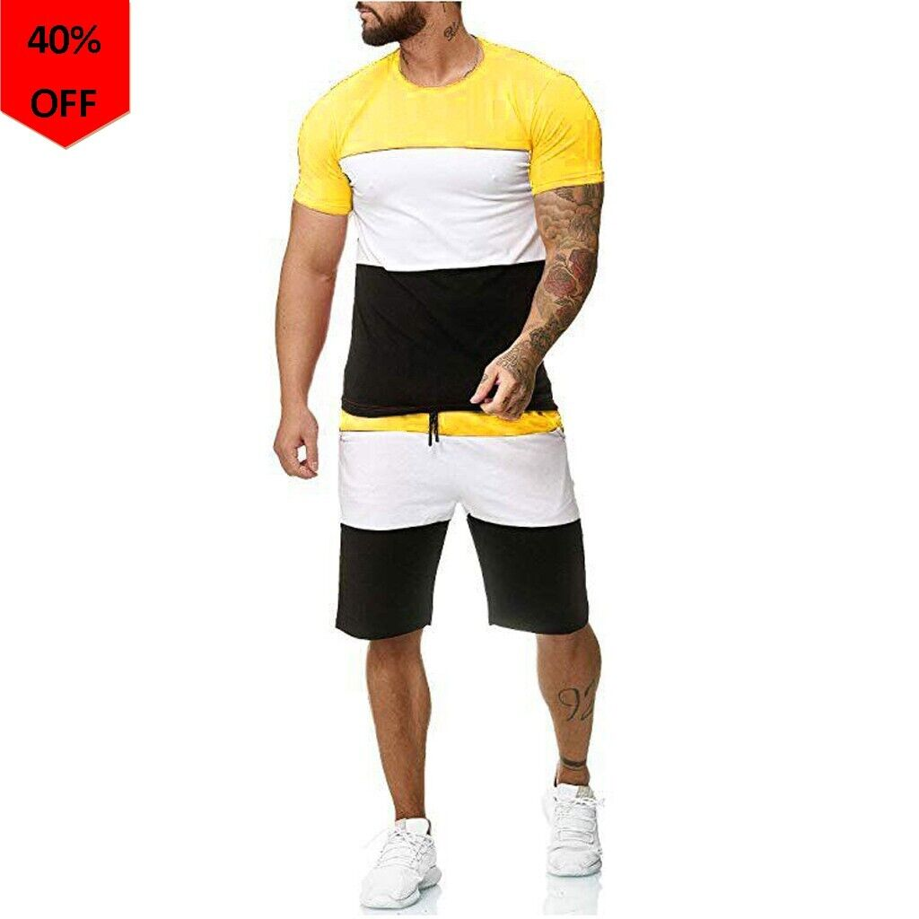 Two Pieces Mens Sets Hip Hop Tshirt Shorts Casual Tracksuit