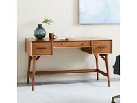 RRP£699 - Beautiful Solid Wood Mid-Century Desk (132 cm w x 61 cm d x