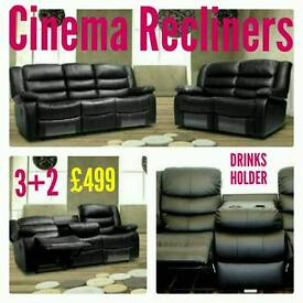 Leather 3+2 or Corner *Cinema Recliner Sofas