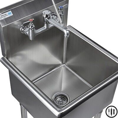 Stainless Steel Mop Sink And Service Sink Faucet Package- 18 X 18 Sink Nsf