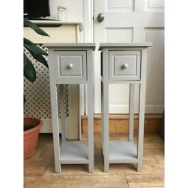 Light grey narrow bedside table set with drawers