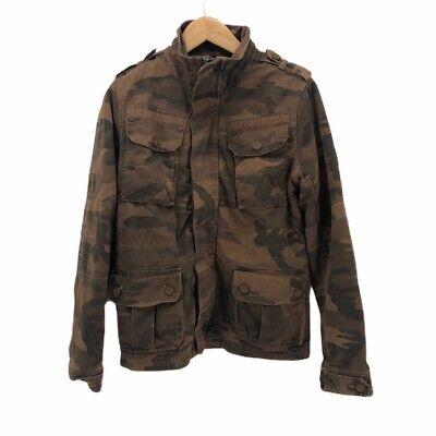 Superdry Regiment Mens Military Jacket Brown Camouflage Flap Pocket Utility S