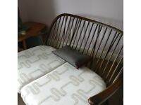 Ercol two seat sofa compact new webbing reupholstered Clarke & Clarke fabric