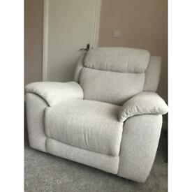 FURNITURE LAND FABRIC RECLINING 3 PIECE SUITE PLUS FOOTSTOOL WITH STORAGE