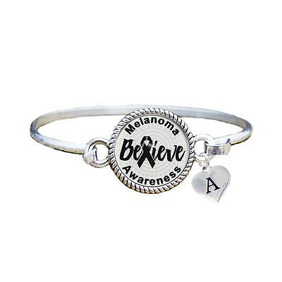 Custom Melanoma Awareness Believe Silver Bracelet Jewelry Choose Initial Family
