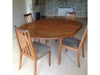 Teak G plan round (extending to oval) table