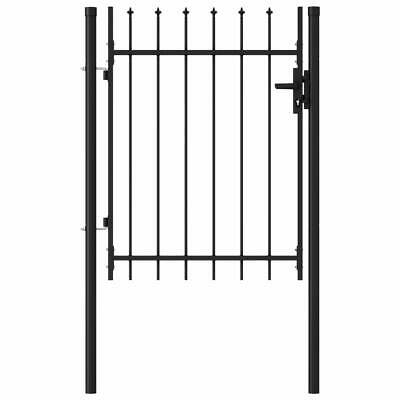 Fence Gate Single Door with Spike Top Steel 1x1.2m Black Garden Barrier C2N7