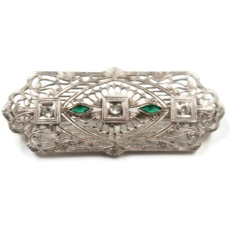 Original Deco Diamond and Emerald 14 Kt White Gold Brooch, Circa 1930, 4.4 grams