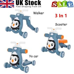 3-in-1 Baby Walker Kid Toddler Learning First Step Push Ride-On Car W/Music Toy