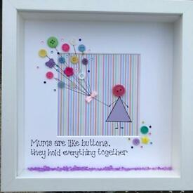 Handmade frame: mums are like buttons