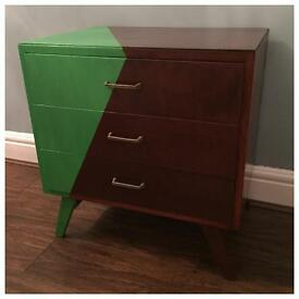 Trendy, part painted 3-drawer chest, teak cupboard, retro, mid century