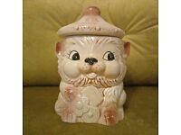 Vintage kitsch Japanse animal biscuit barrel container / planter