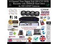 4 Cameras HD CVI CCTV Kit, 8 Channel HD DVR 1TB HDD, 4x HD 1.0 Megapixel Bullet Cameras