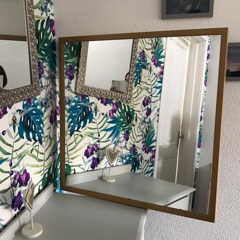 Ikea mirror 70cm x 70cm oak frame