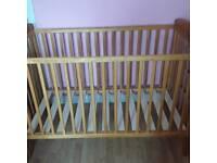 Mamas & Papas Natural Wood Cot with Mattress and Sheets