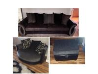 3 seater dfs sofa, cuddle chair and storage footstool