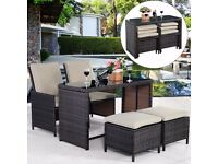 FREE UK DELIVERY - 5 Piece Compact Outdoor Rattan Set with Storage