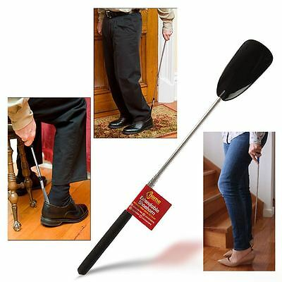 EXTENDABLE BLACK METAL SHOE HORN HANDLE LONG REMOVER HANDHELD SHOES EASY GRIP