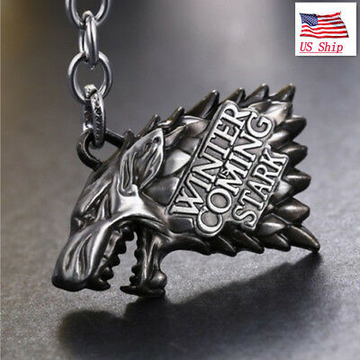 US TV Shows HBO Game of Thrones House Stark Head 3D Ring Metal Keyring Fans Gift